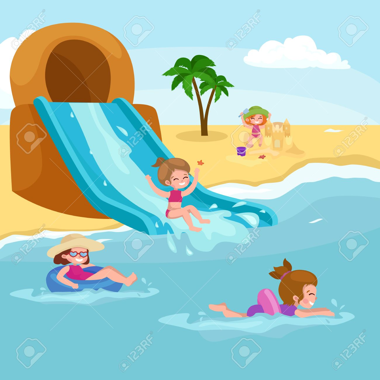 Children summer vacation. Kids Playing sand around water on beach. Cute little girl in a bathing suit and Funny boy Swiming in the sea. - 57030364