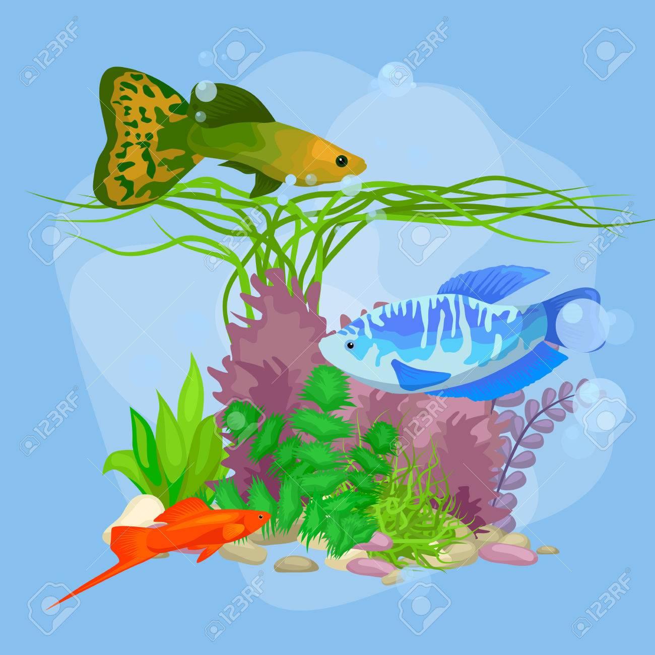 魚海藻泡イラストと水中ベクトル世界背景のイラスト素材ベクタ
