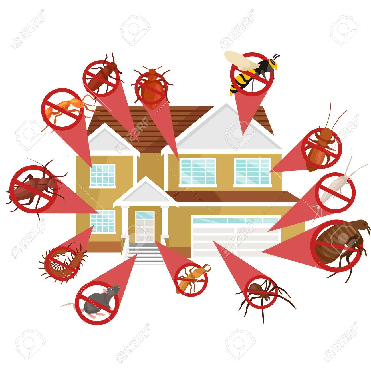 Pest control concept with insects exterminator silhouette flat vector illustration set - 57438093