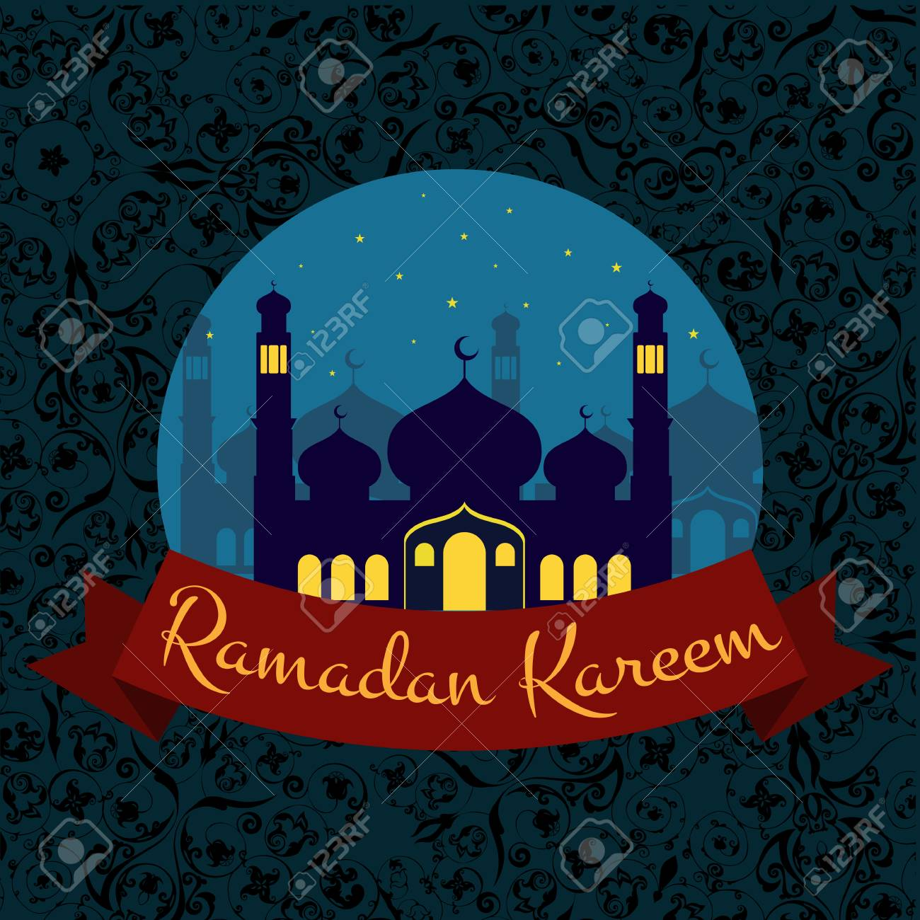 Happy Ramadan Kareem Greeting Card And Background Illustration