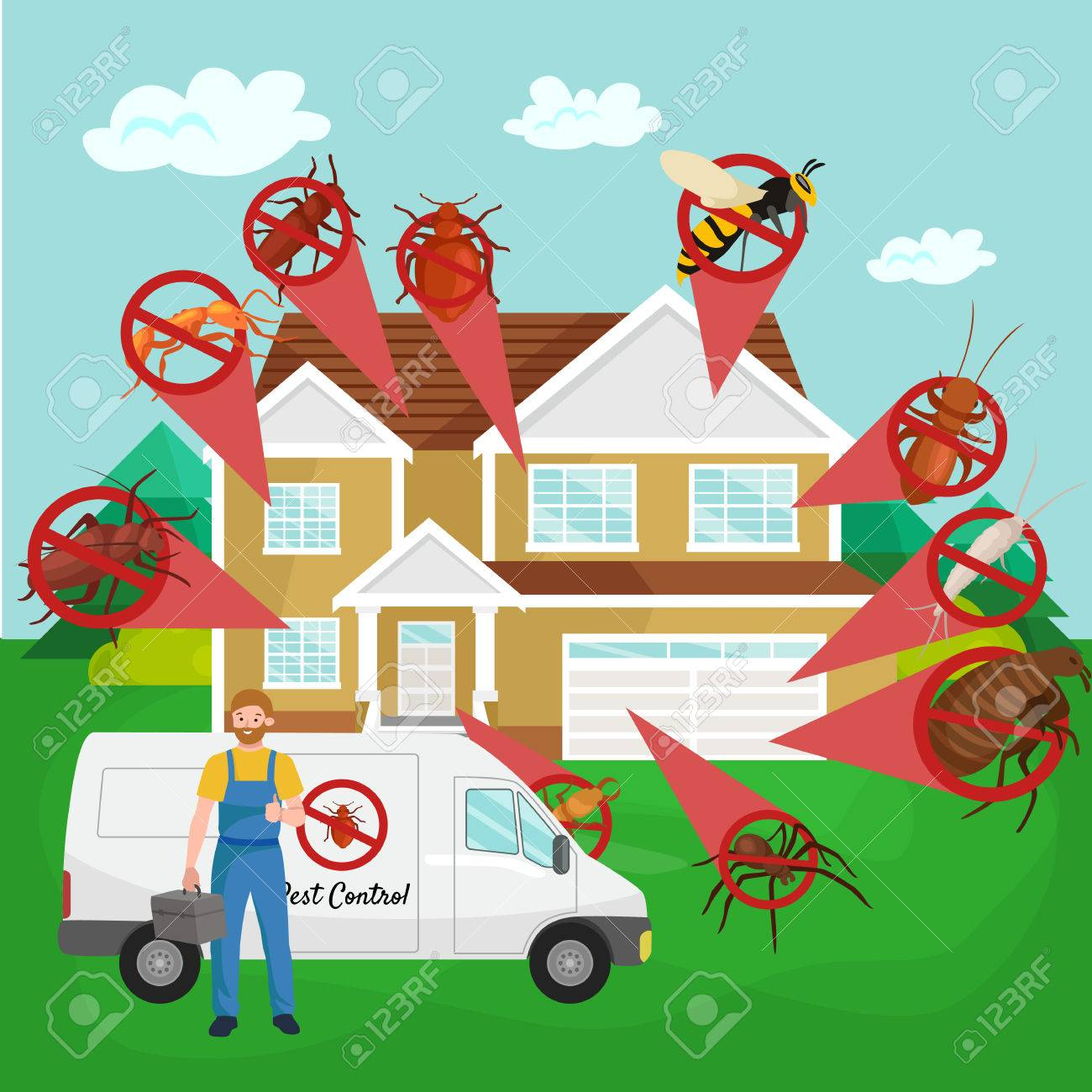 Pest control concept with insects exterminator silhouette flat vector illustration set - 58197184