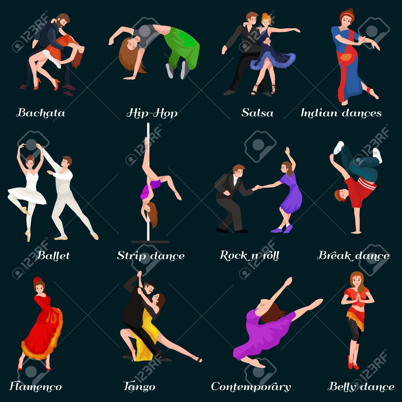 Dancing People, Dancer Bachata, Hiphop, Salsa, Indian, Ballet, Strip, Roch and Roll, Break, Flamenco, Tango, Contemporary, Belly Dance Pictogram Icon Dancing style of design concept set vector illustration set - 58647570