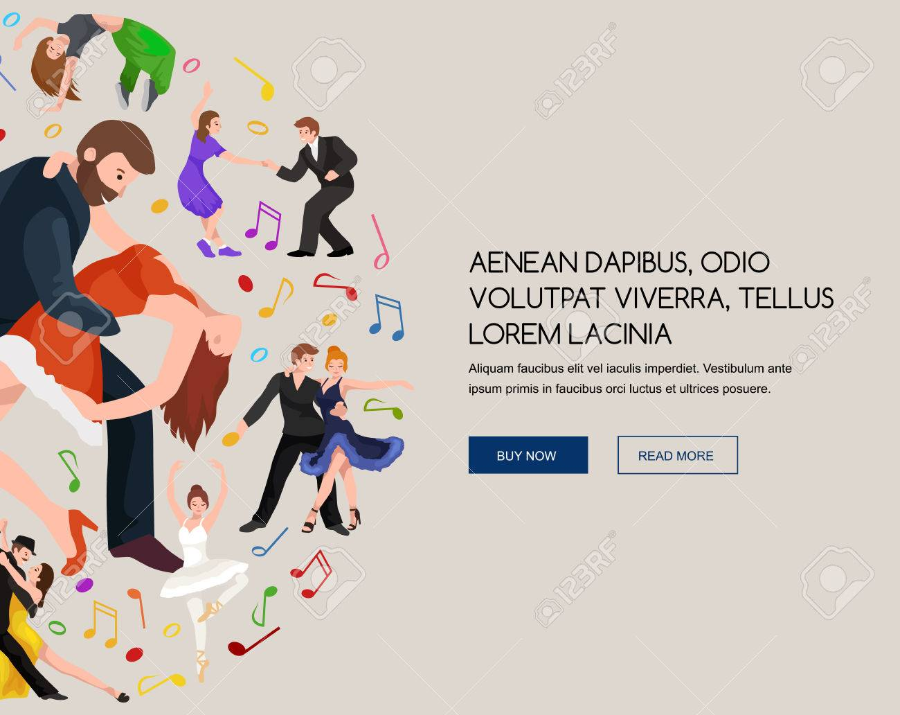 Couple dancing Kizomba in bright costumes. Vector illustration of partners dance bachata, happy peoples man and woman ballroom dancing poster, Bachata, roomba salsa dancer concept for poster, banner or flyer - 58647673