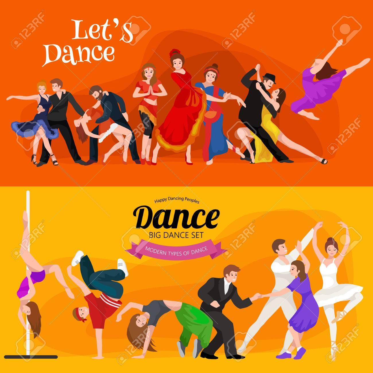Vector illustration of couple dancing modern dance, Partners