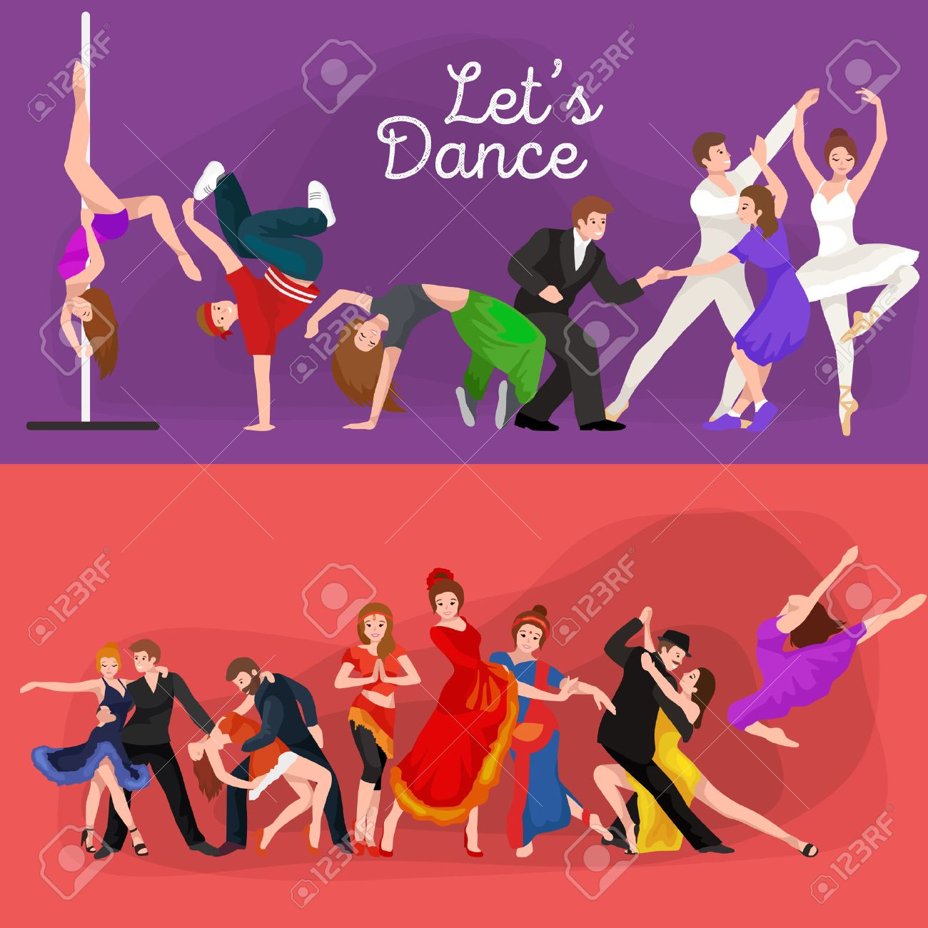 Dancing People, Dancer Bachata, Hiphop, Salsa, Indian, Ballet, Strip, Rock and Roll, Break, Flamenco, Tango, Contemporary, Belly Dance Pictogram Icon Dancing style of design concept set vector illustration set - 58648005