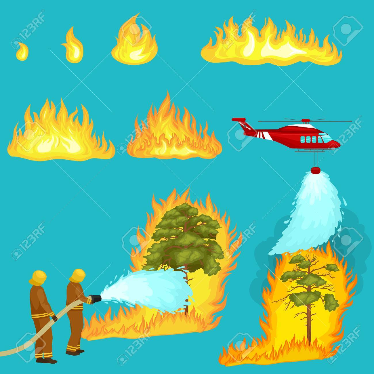 Firefighters in protective clothing and helmet with helicopter extinguish with water from hoses dangerous wildfire.Man fighter rescue helicopter put out the fire in forest landscape damage vector - 60196899