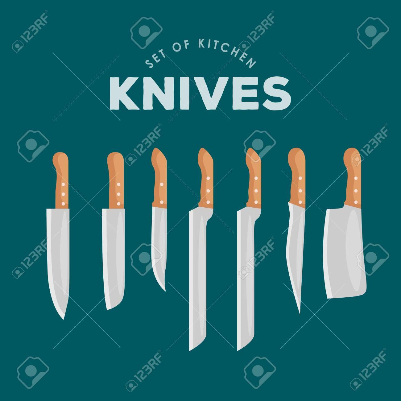 Steel Kitchen Household Cutlery Set. Kitchen Knives Vector ...