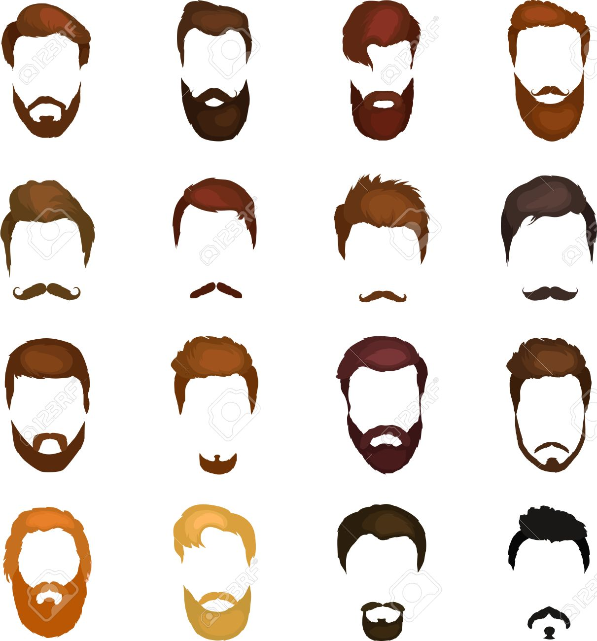 Set Of Men Cartoon Hairstyles With Beards And Mustache Collection