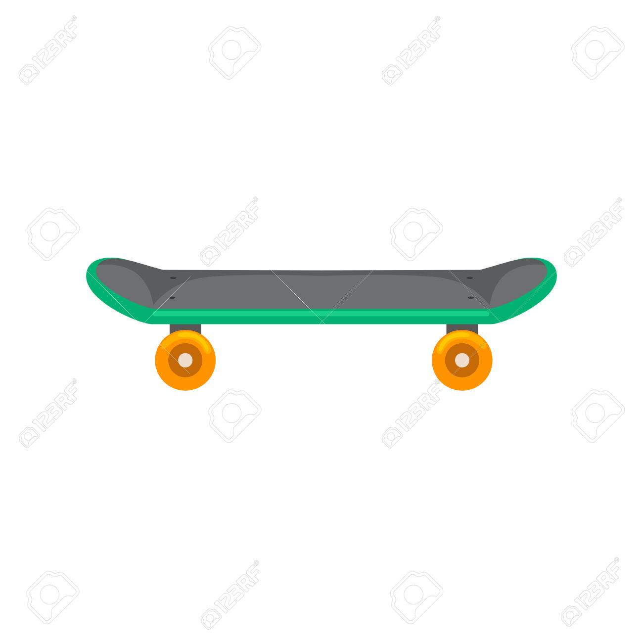 isolated skateboard with wheel for active lifestyle, extreme sport for youth activity, balance street transport vector illustration. - 62617971