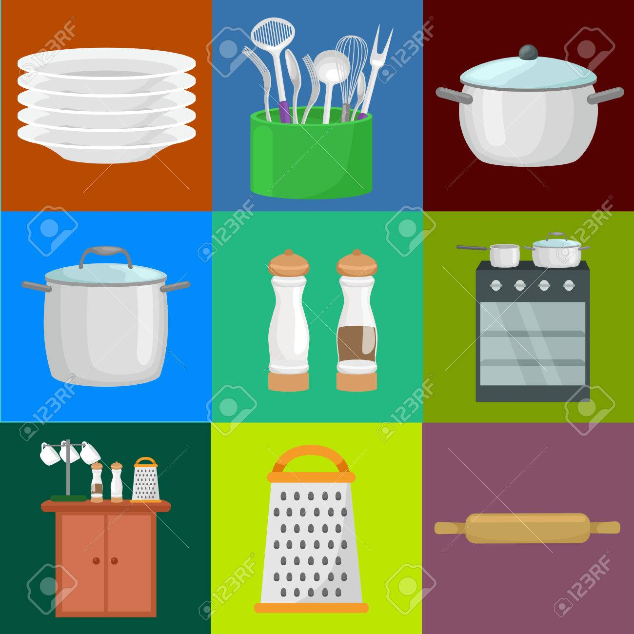 Kitchenware Icons Vector Set. Cartoon Kitchen Utensil Collection ...