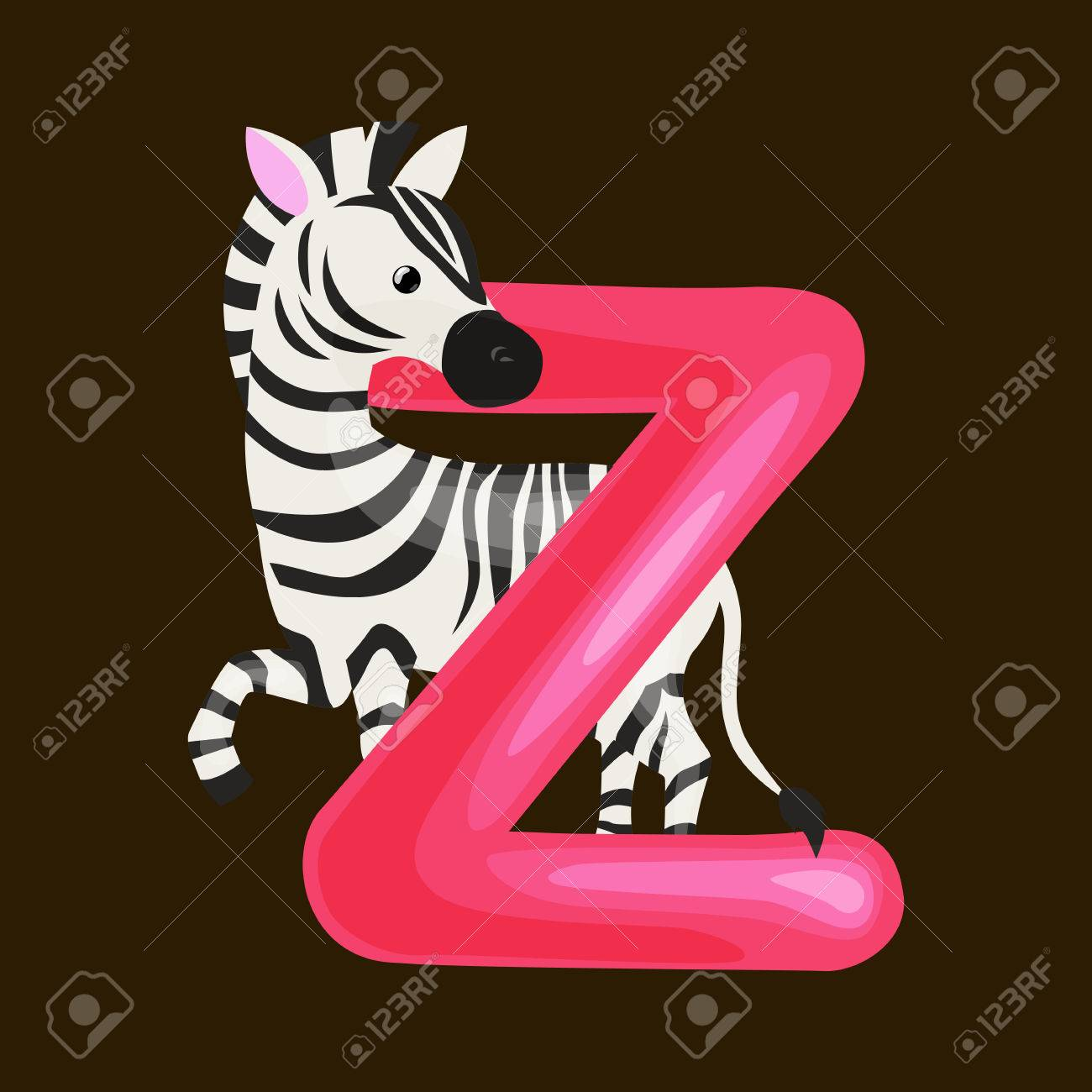 Vector   Zebra Animal And Letter Z For Kids Abc Education In Preschool.Cute  Animals Letters English Alphabet. Cartoon Animals Alphabet For Learning  Letters ...