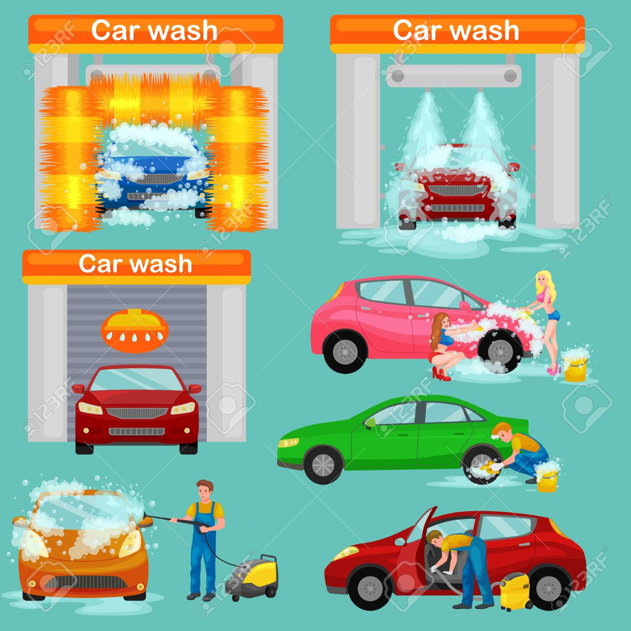 car wash services, auto cleaning with water and soap, car interior. - 63388249