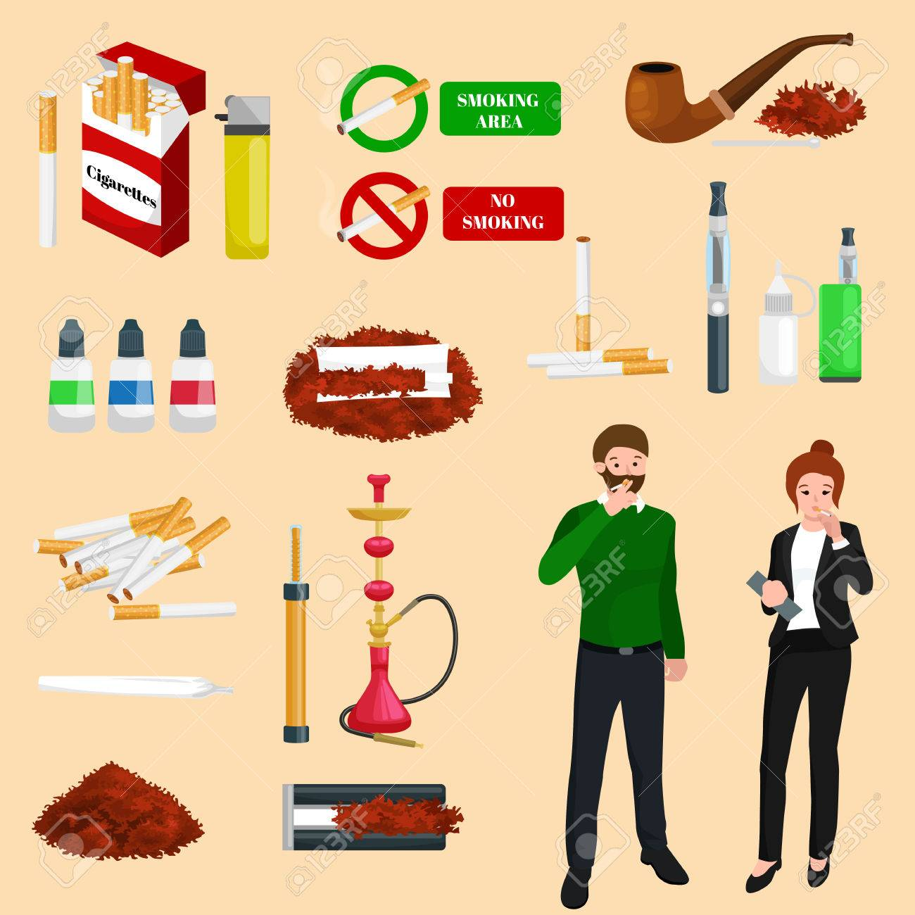 Smoking tobacco decorative icons set with cigarettes hookah cigars alcohol lighter on brown background isolated vector illustration - 67294893