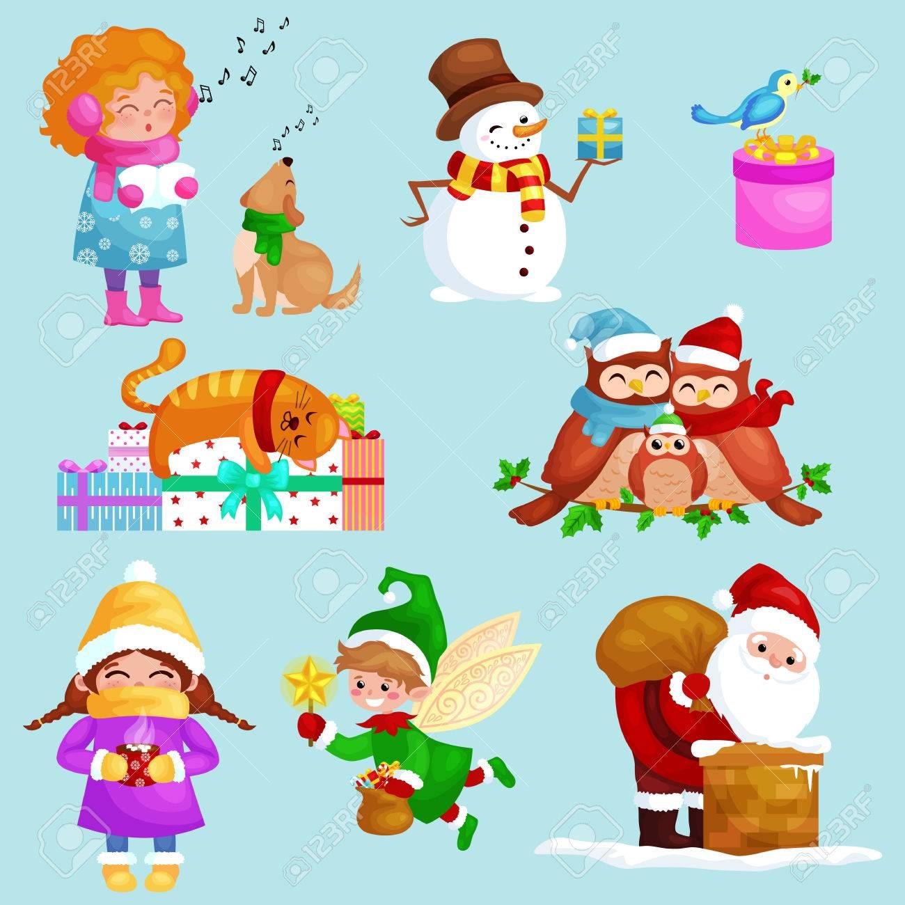 Illustrationen Frohe Weihnachten Frohes Neues Jahr Eingestellt ...