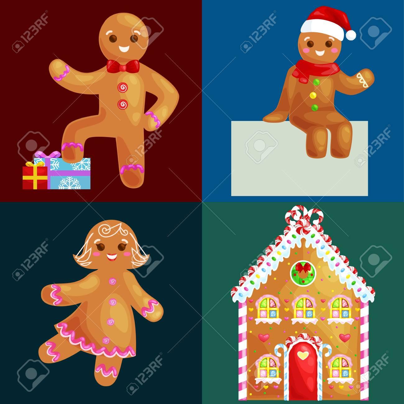 Set Weihnachtsplätzchen Lebkuchenmann Und Mädchen In Der Nähe Von ...