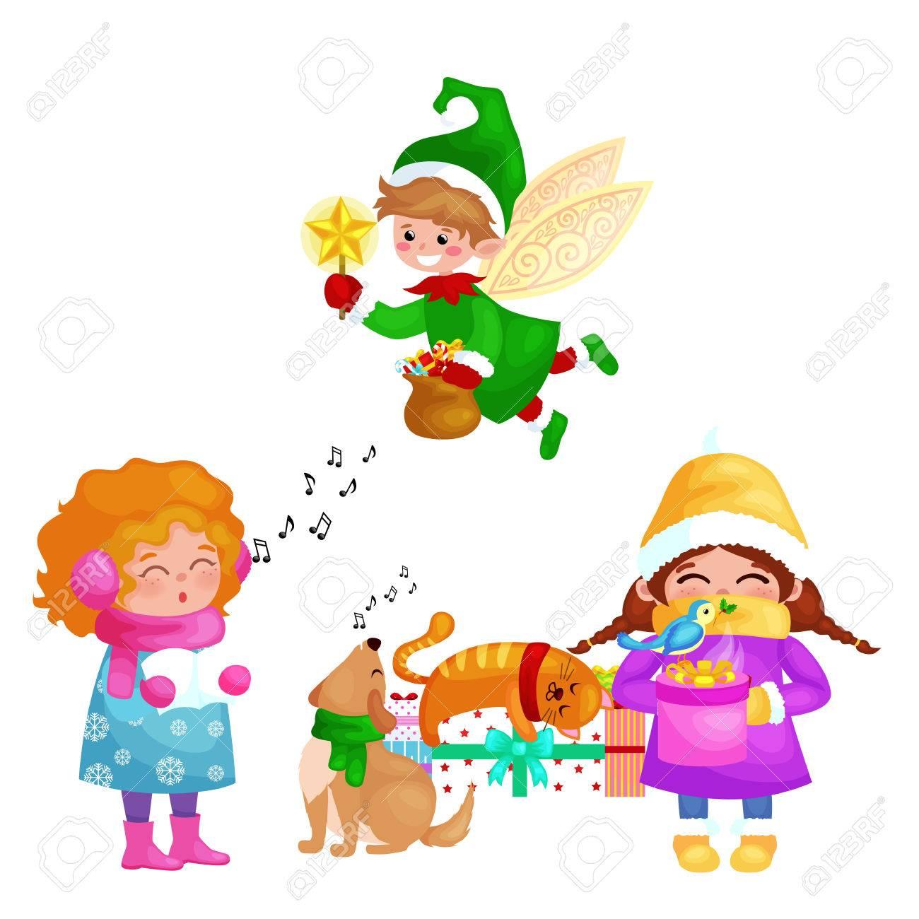 Chanson Un Joyeux Noel.Illustrations Fixes Joyeux Joyeux Noel Nouvelle Annee Fille Chanter Des Chansons De Vacances Avec Animaux De Compagnie Des Cadeaux De Bonhomme De