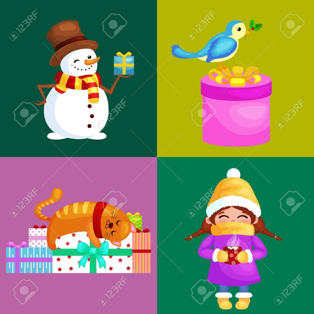69ae3cd85 Conjunto De Ilustraciones Vectoriales Feliz Navidad Feliz Año Nuevo, Chica  En Ropa Cálida Bufanda Del Sombrero Y Las Manoplas En Vacaciones De  Invierno, ...