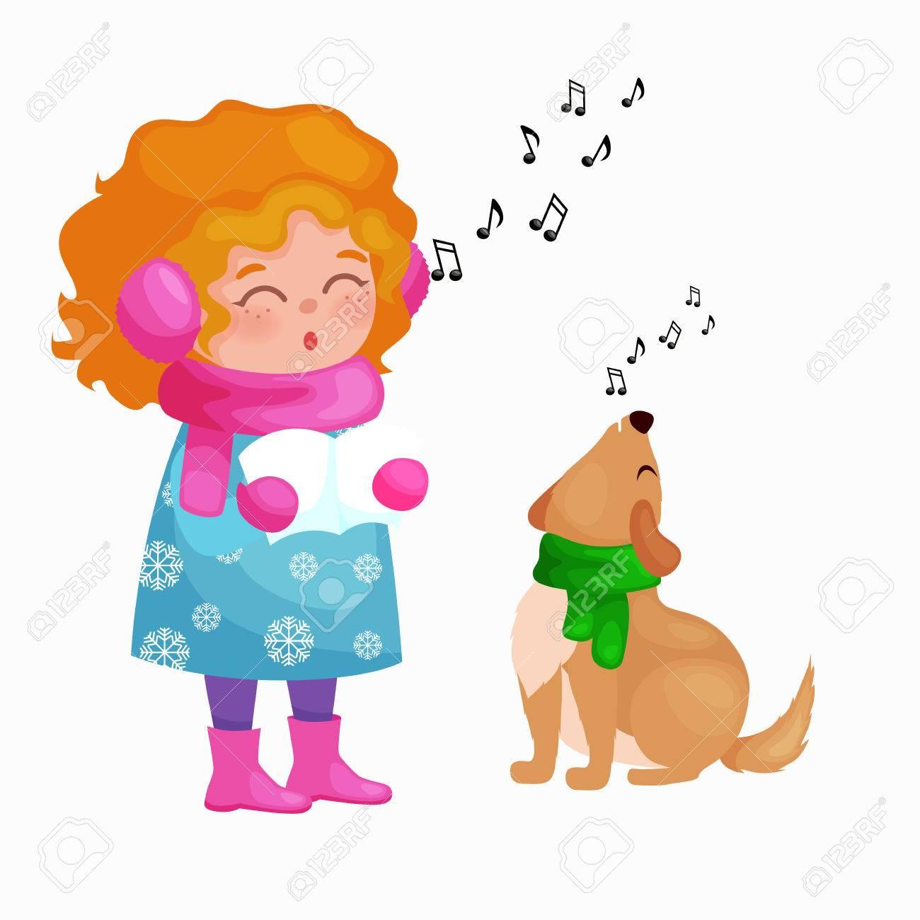 Girl And Dog Singing Christmas Songs And Jingle Bells Music On ...