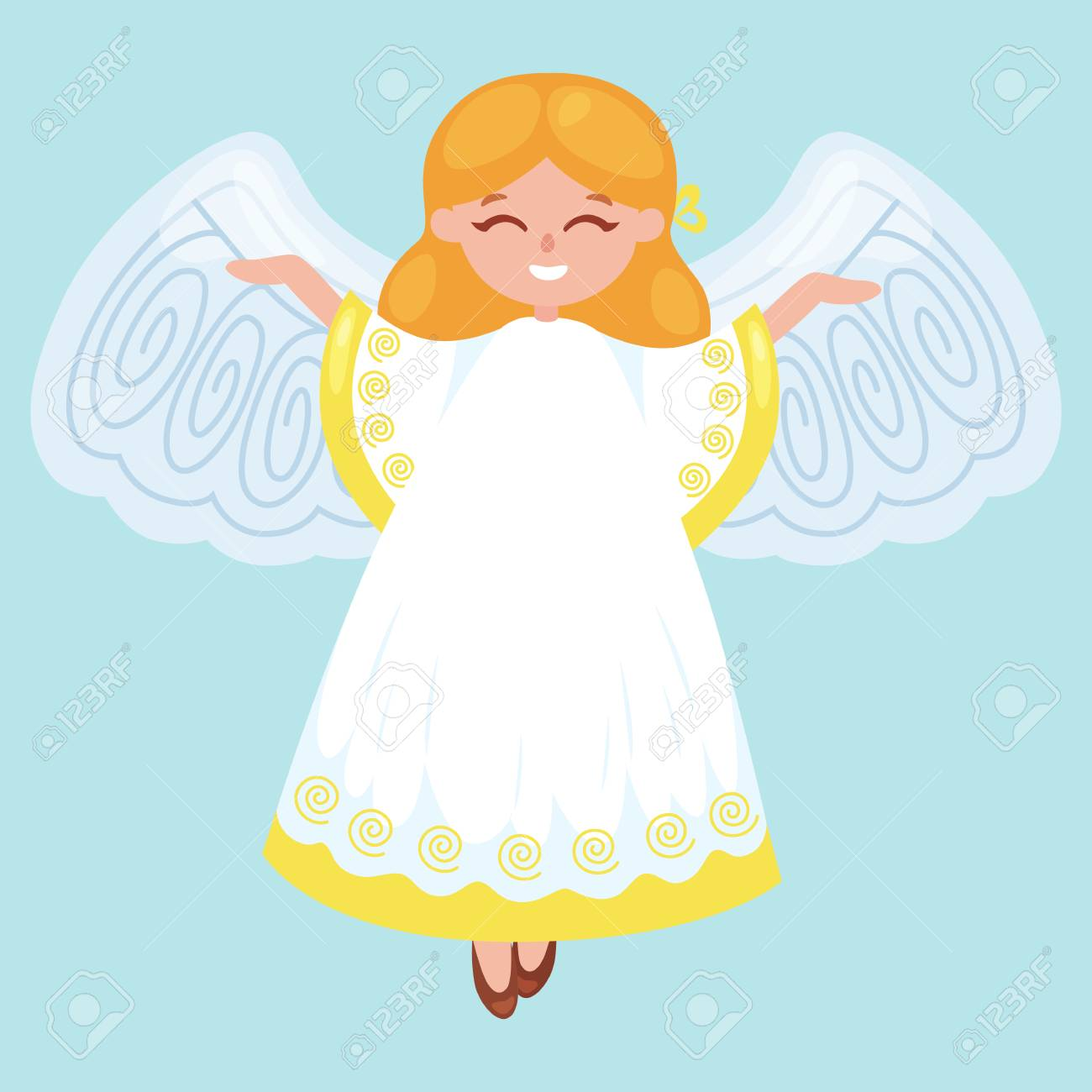 Christmas Holiday Flying Angel With Wings And Golden Trumpet ...