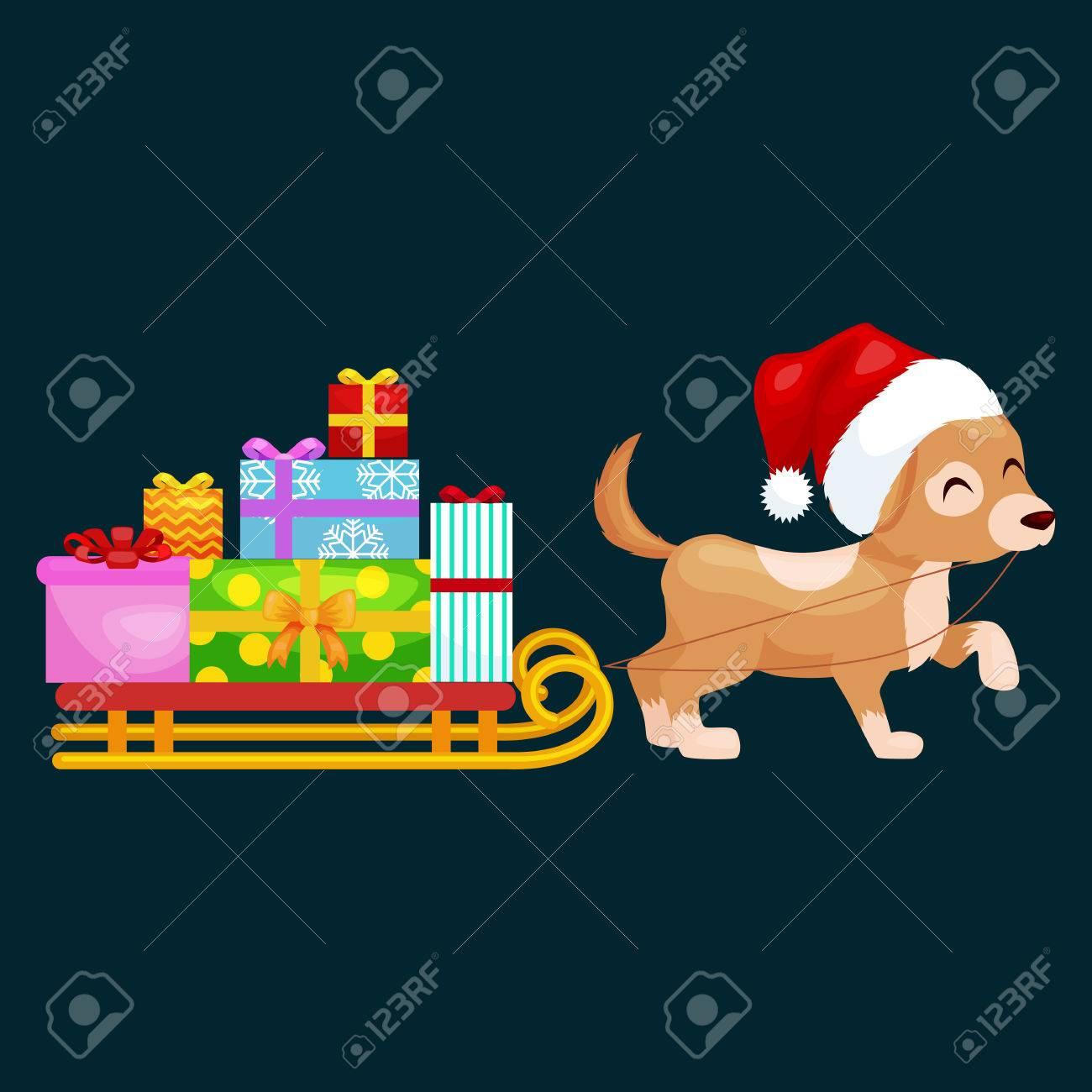 Glückliche Weihnachtshunde Auf Stapel Geschenken ...