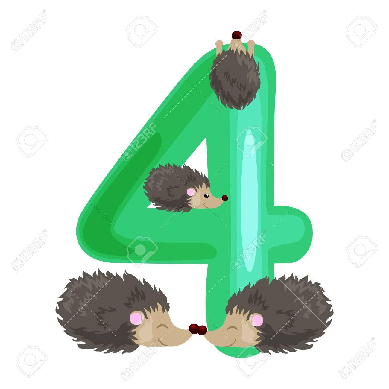 Nombre Ordinal 4 Pour Les Enfants D Enseignement Comptant Quatre Herissons Avec La Possibilite De Calculer Les Animaux De Quantite Abc Livres Alphabet
