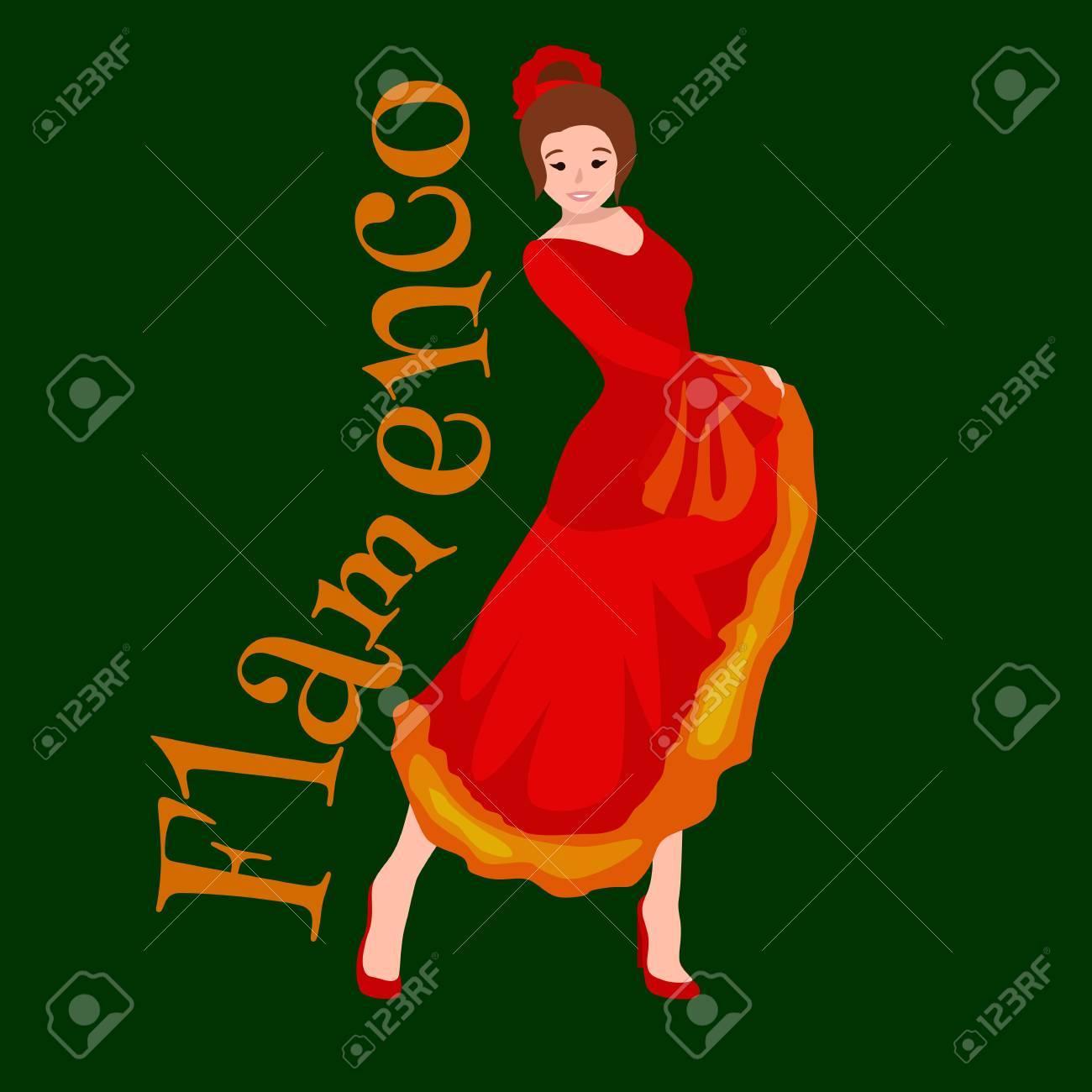 c9a7a8716 Bailarina Española De Flamenco Chica De Vestido Rojo