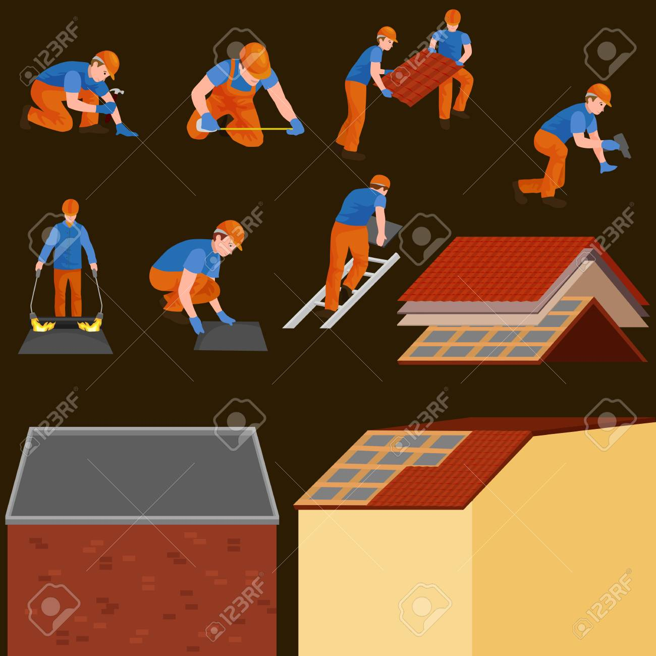 roof construction worker repair home, build structure fixing rooftop tile house with labor equipment, roofer men with work tools in hands outdoors renovation residential vector illustration Stock Photo - 73542412
