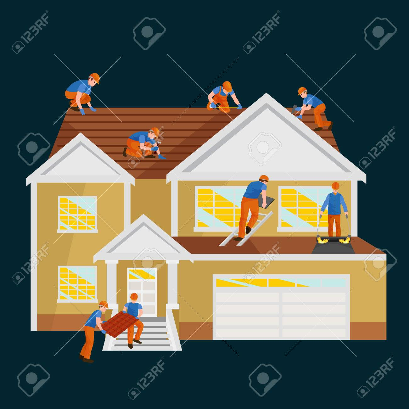 Roof Construction Worker Repair Home, Build Structure Fixing Rooftop Tile  House With Labor Equipment,