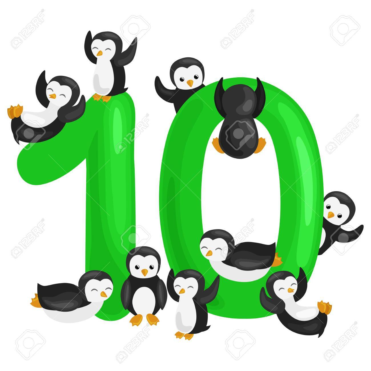ordinal number 10 for teaching children counting ten penguins