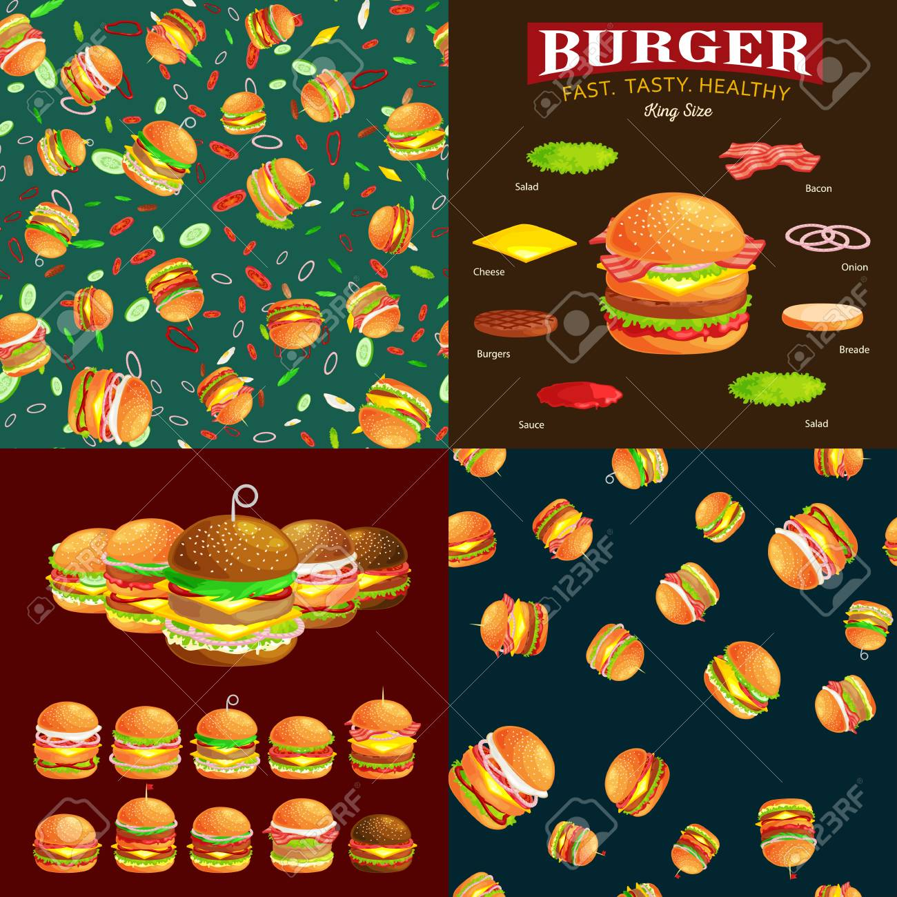 Clipart Of Set Of Tasty Burgers Grilled Beef And Fresh