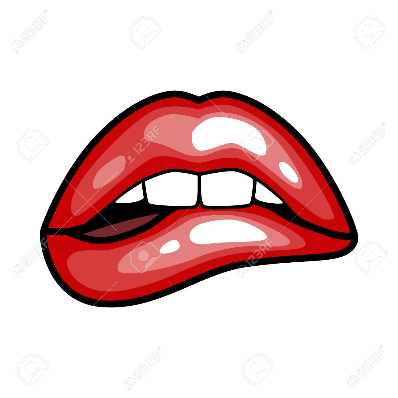 Fashion Girls Lips With Red Lipstick In Cartoon Pop Art Style Royalty Free Cliparts Vectors And Stock Illustration Image 80631858