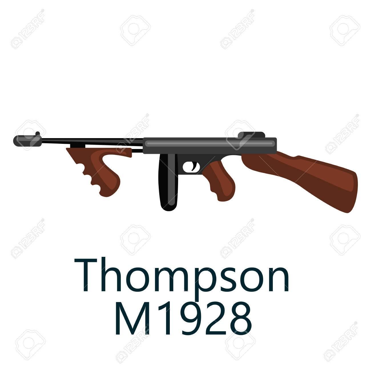 トムソン機 1920 1930 ギャングの銃お気に入りの武器 ベクトル漫画の