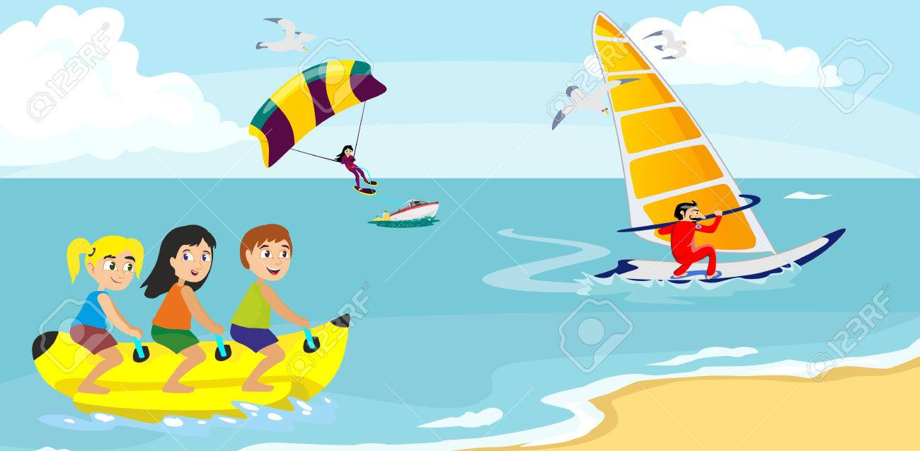 banana boat water extreme sports, isolated design element for summer vacation activity concept, cartoon wave surfing, sea beach vector illustration, active lifestyle adventure - 82812400