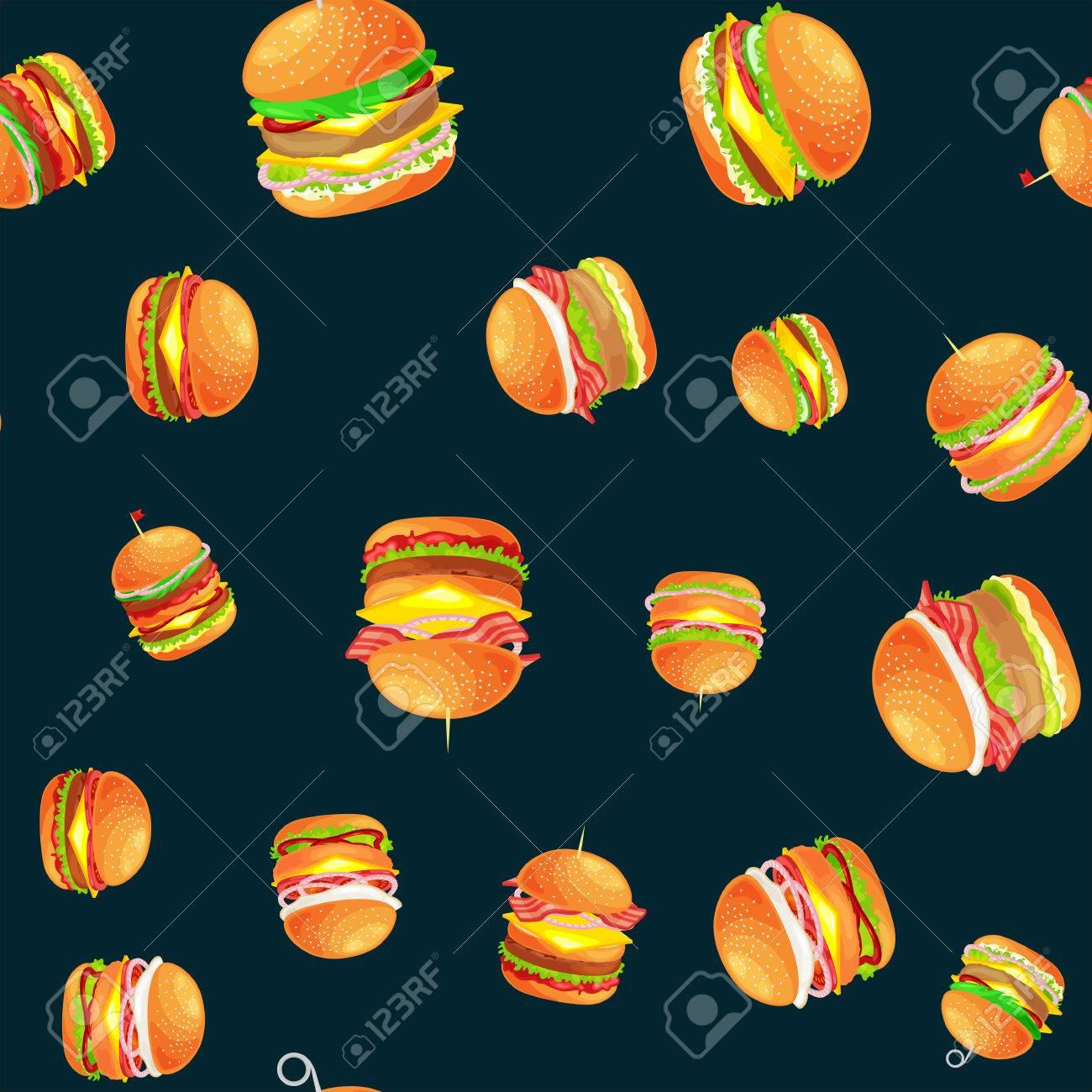 american hamburger, fast food meal menu barbecue meat vector