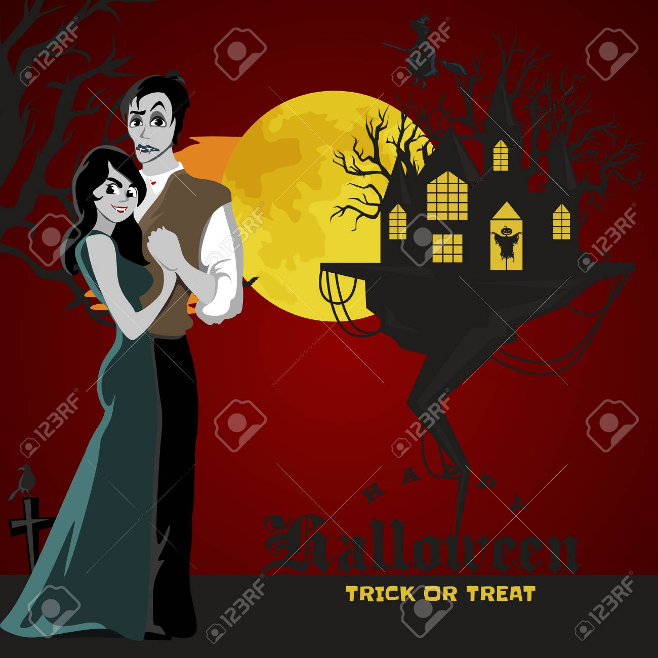 halloween gothic party with vampire couple fun background for