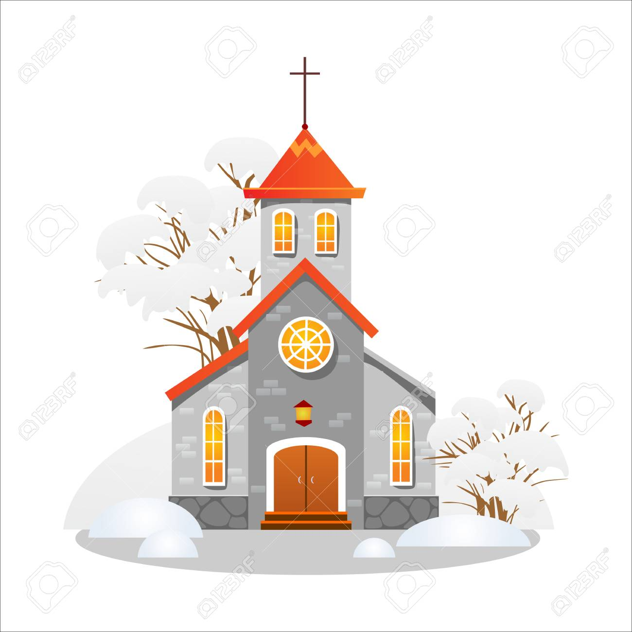 illustration merry christmas and happy new year card church and green tree under snow christianity and catholic winter city cathedral vector