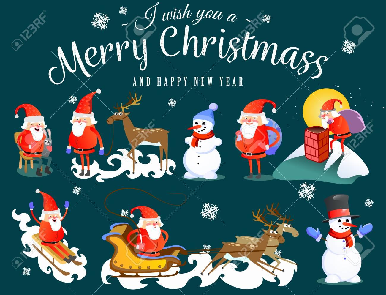 Ich Wunsche Ihnen Frohe Weihnachten Weihnachtsmann Rentier Und