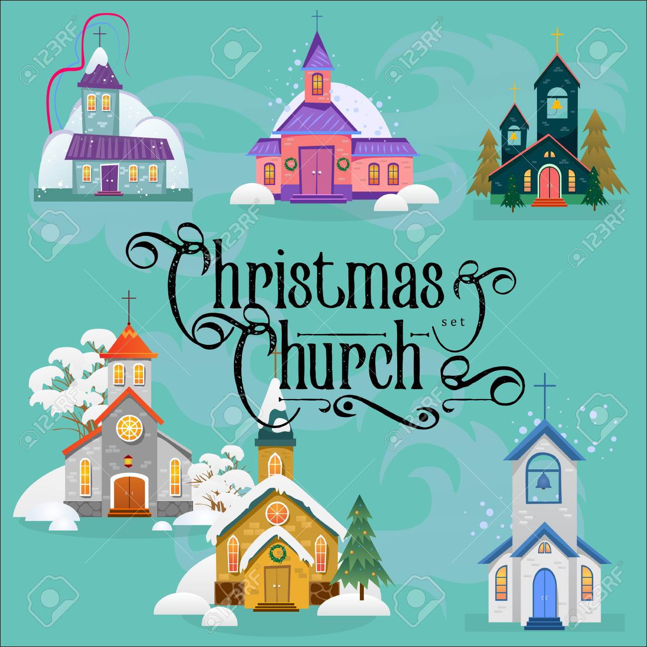 merry christmas and happy new year card with church and green tree under design stock