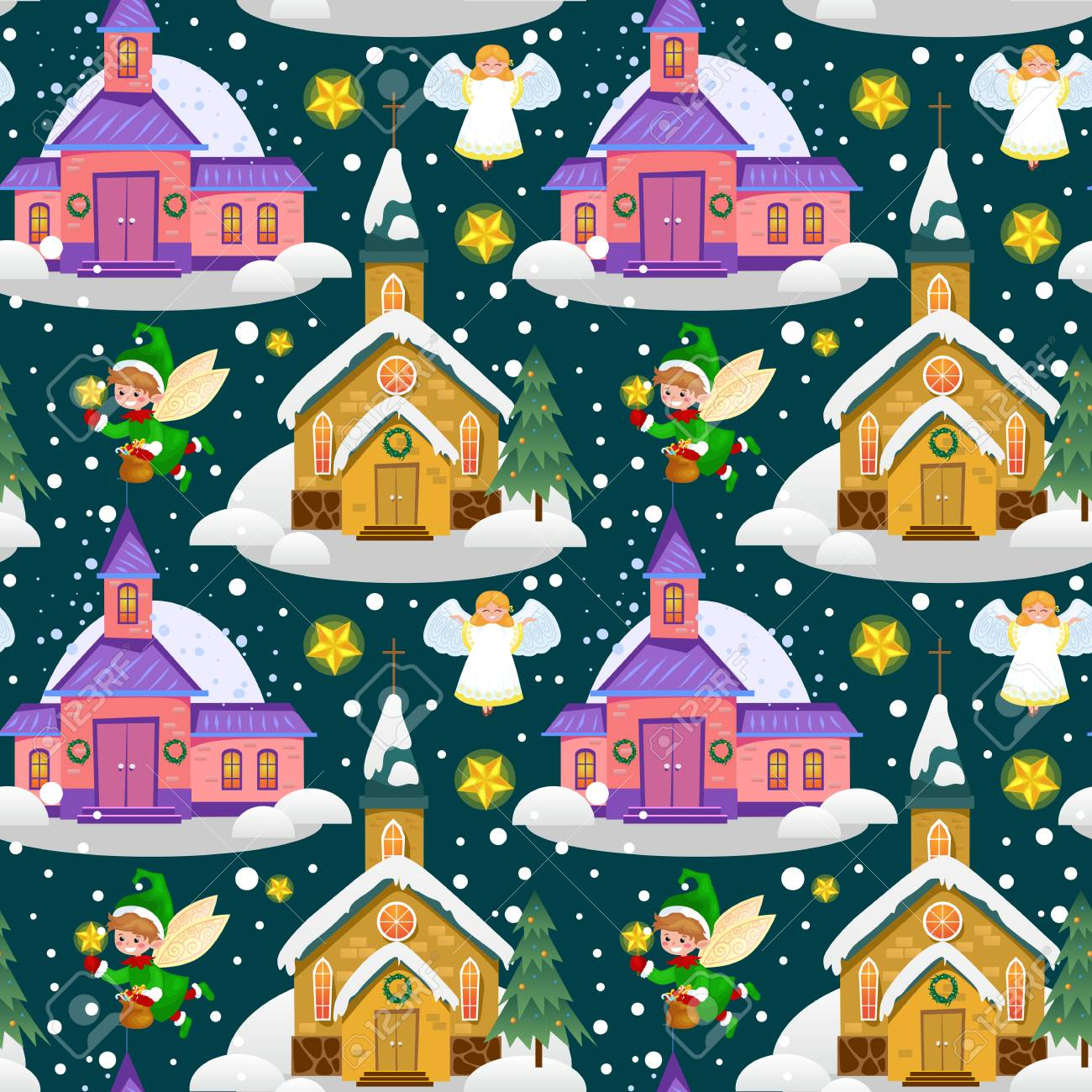 Merry Christmas and Happy New Year card, church and green tree under snow, Christianity and Catholic winter city cathedral vector illustration, religious holy background. - 91538756