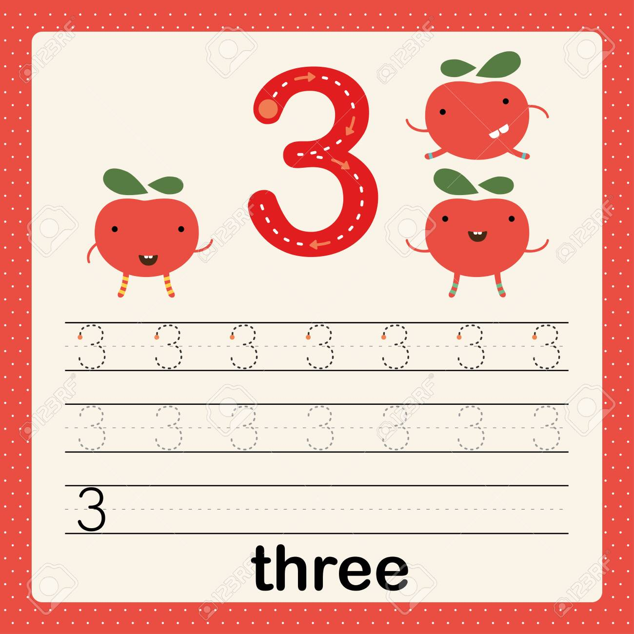 Number 3, card for kids learning to count and to write, worksheet..
