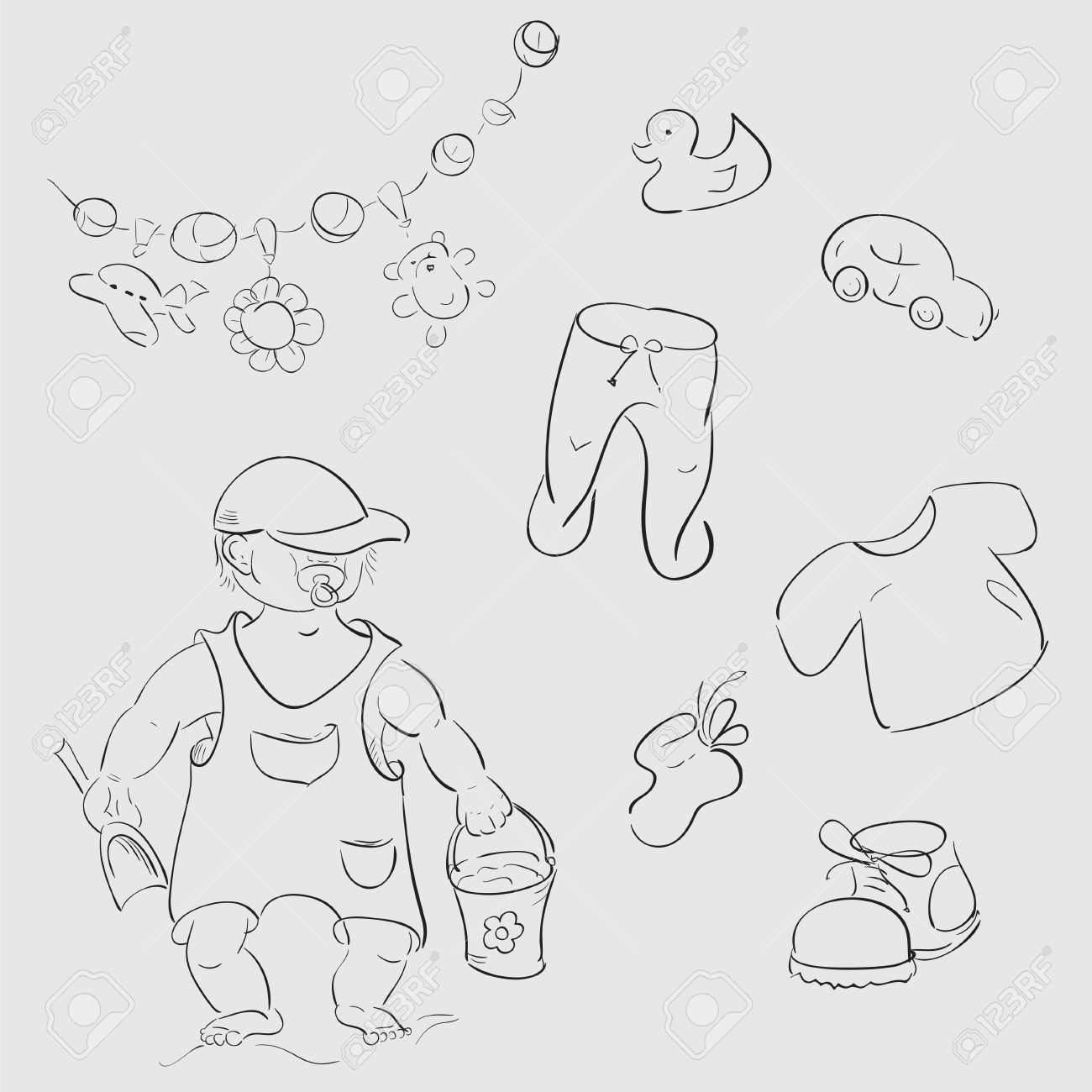 baby boy children s toys and clothes sketches stock vector 21263480