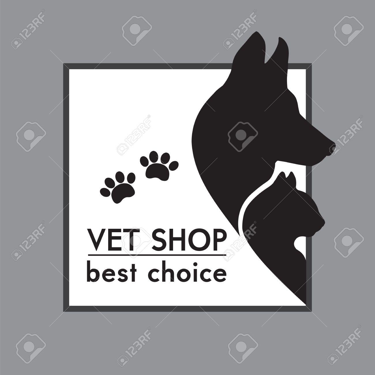 Perro y gato Siluetas poster tienda veterinaria Foto de archivo - 21930504