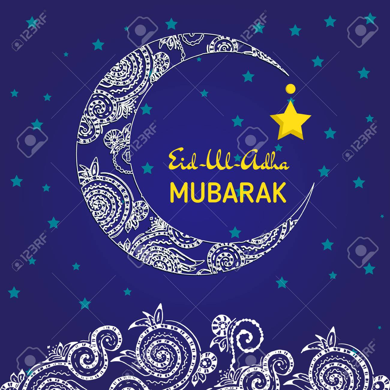 Crescent Moon Decorated With For Muslim Community Festival Eid Al Fitr Mubarak Greeting Card Template