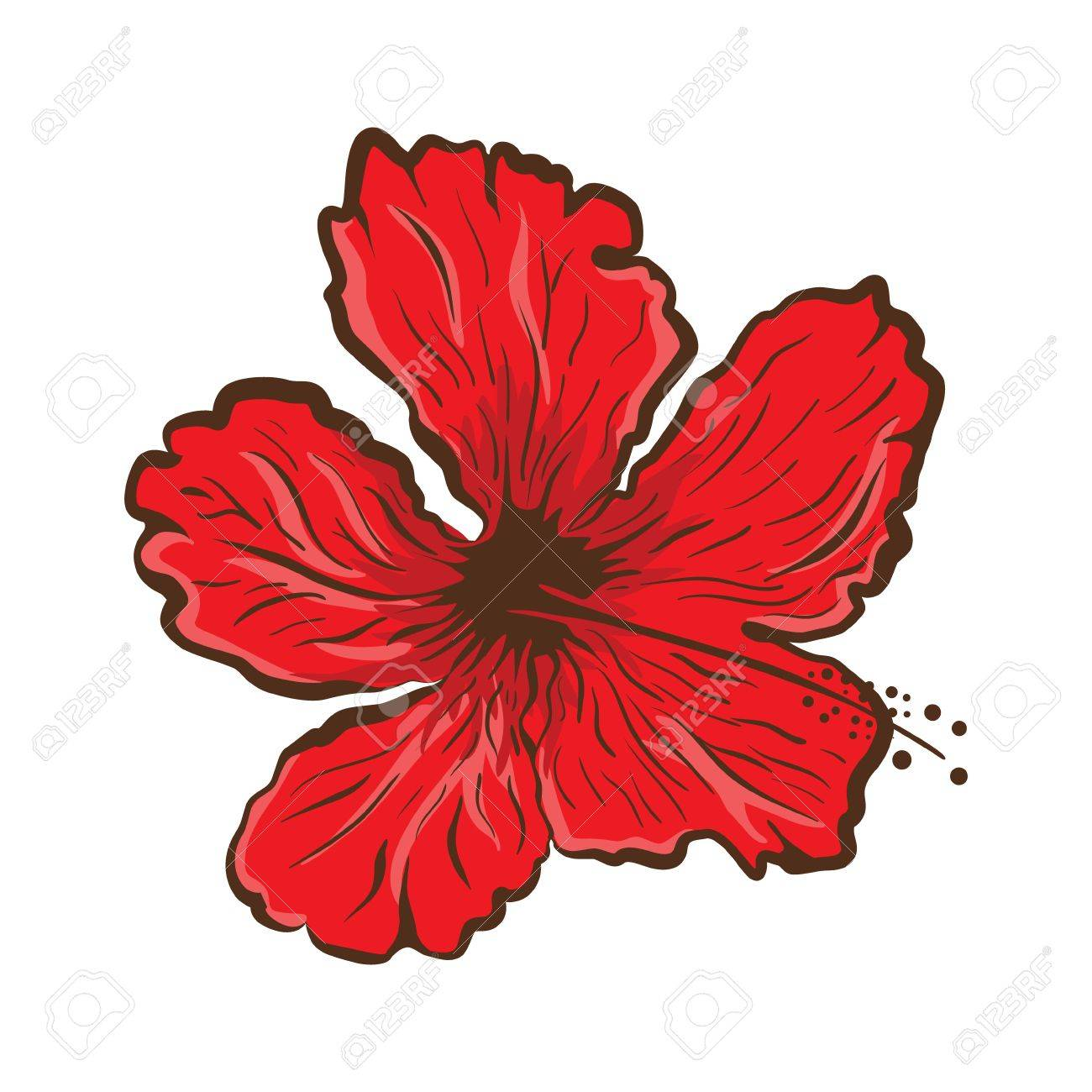 Hibiscus Flower In Tattoo Style Graphic Tropical Flower Royalty