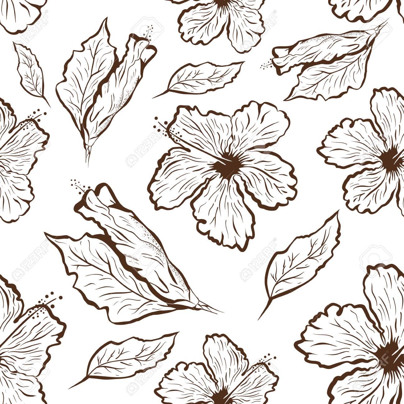 Modèle Sans Couture De Fleur D Hibiscus Dans Le Style De Tatouage Noir Et Blanc Fleurs Tropicales Graphiques
