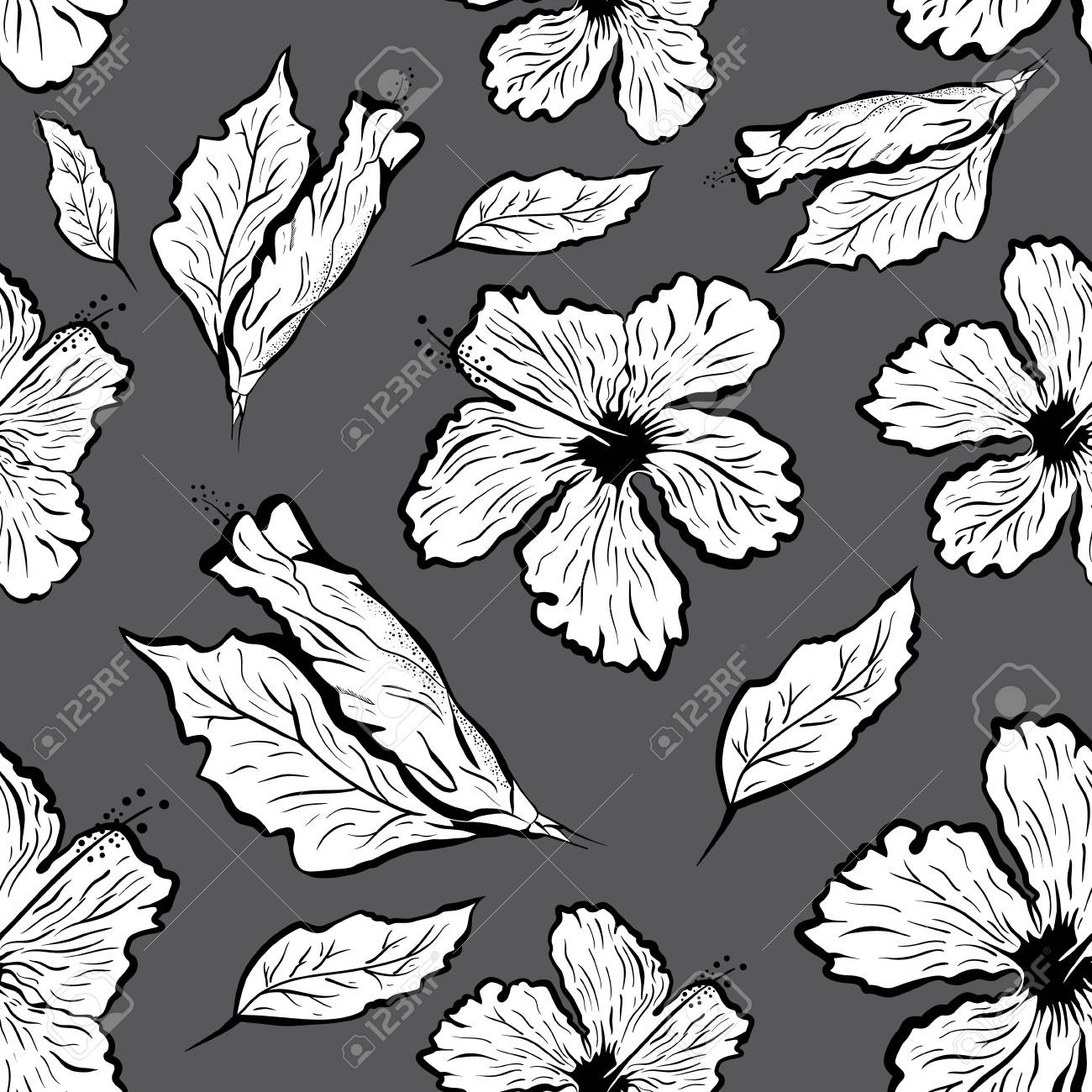 Seamless Pattern Of Hibiscus Flower In Tattoo Style Black And