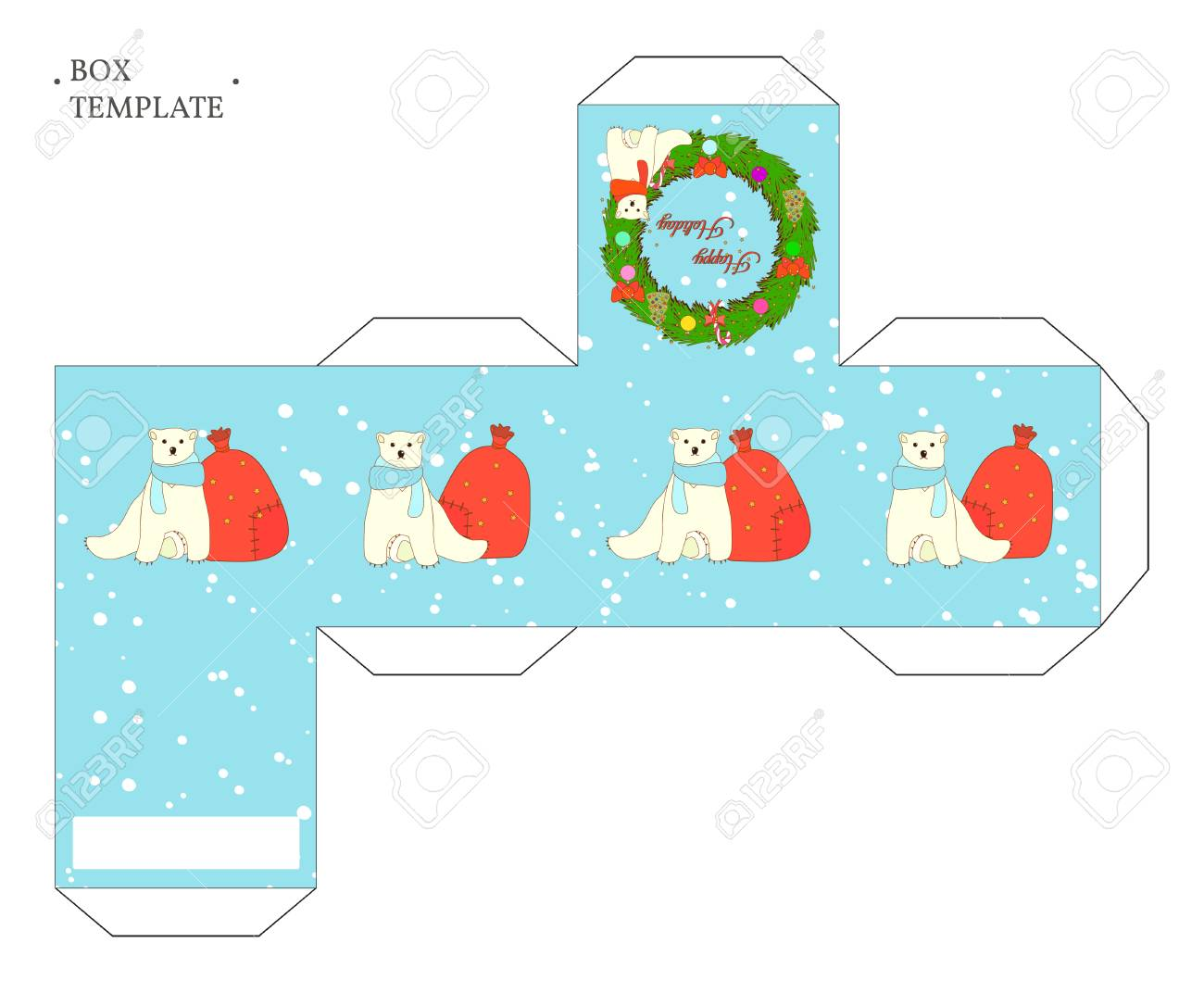 Vector Packaging Box Template With Christmas Wreath And Cute
