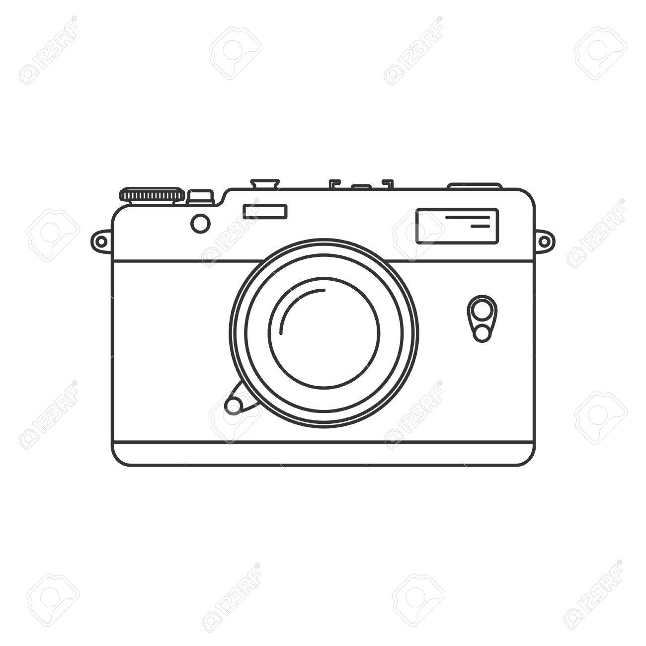 Retro Camera Icon Vintage In Line Art Style Antique Illustration Isolated