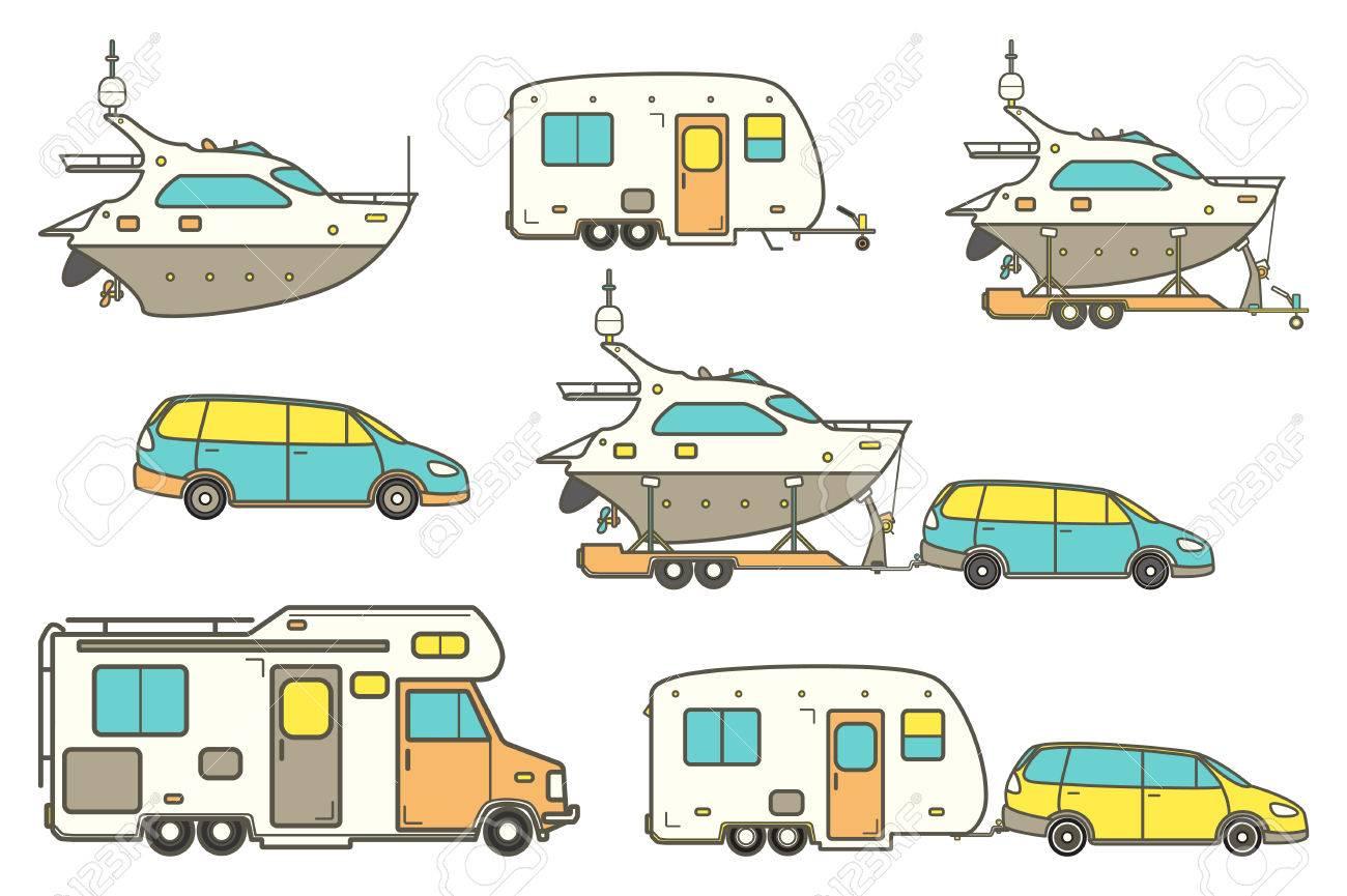 Iconos De Líneas De Viajes. Minivan, Coche De La Familia. Vector ...