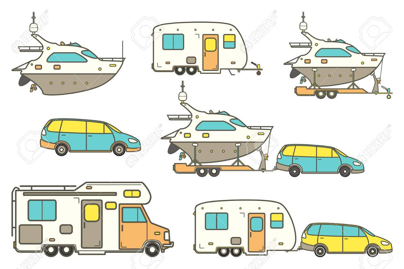 Travel Line Icons Minivan Family Car Vector Camping Caravan Truck Icon